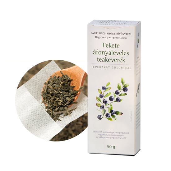 Fekete áfonyaleveles teakeverék ajándék teafilterrel